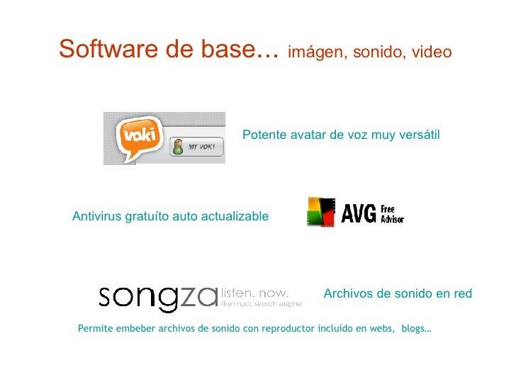 Software de base ...  imágen, sonido, video   Potente avatar de voz muy versátil   Permite embeber archivos de sonido con ...