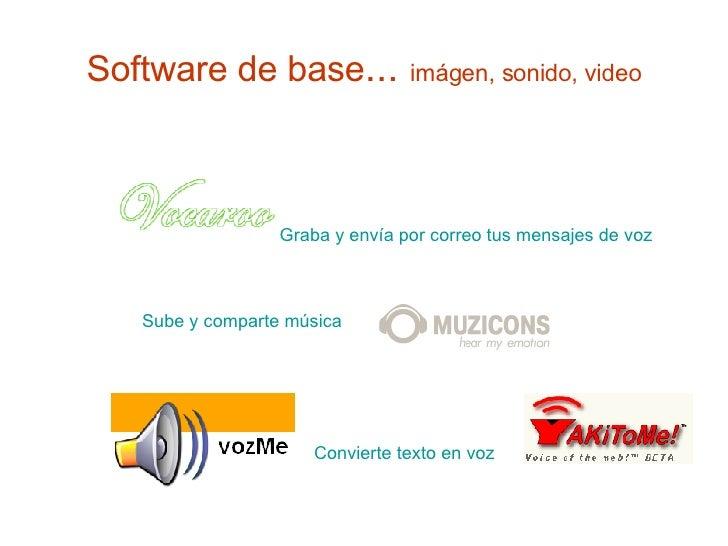 Software de base ...  imágen, sonido, video Graba y envía por correo tus mensajes de voz Sube y comparte música Convierte ...