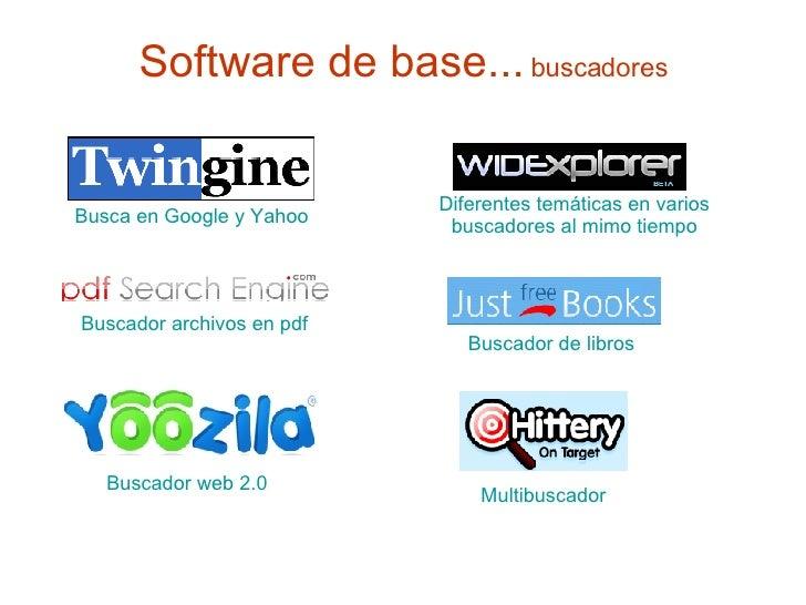 Software de base...   buscadores Busca en Google y Yahoo Multibuscador Buscador  archivos en pdf Buscador  web 2.0 Buscado...