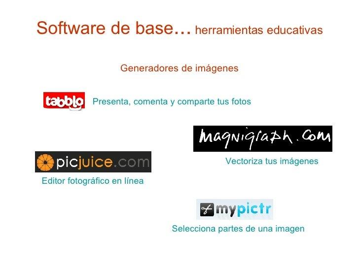 Software de base ...  herramientas educativas <ul><li>Generadores de imágenes </li></ul>Presenta, comenta y comparte tus f...