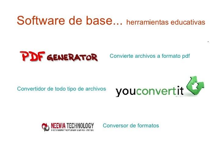 Software de base...  herramientas educativas <ul><li>. </li></ul>Convertidor de todo tipo de archivos Convierte archivos a...