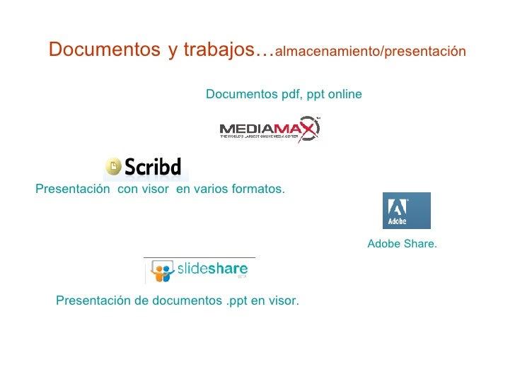 Documentos   y trabajos… almacenamiento/presentación Presentación  con visor  en varios formatos.  Adobe Share.     Docume...