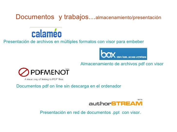 Documentos   y trabajos… almacenamiento/presentación Documentos pdf on line sin descarga en el ordenador Presentación en r...