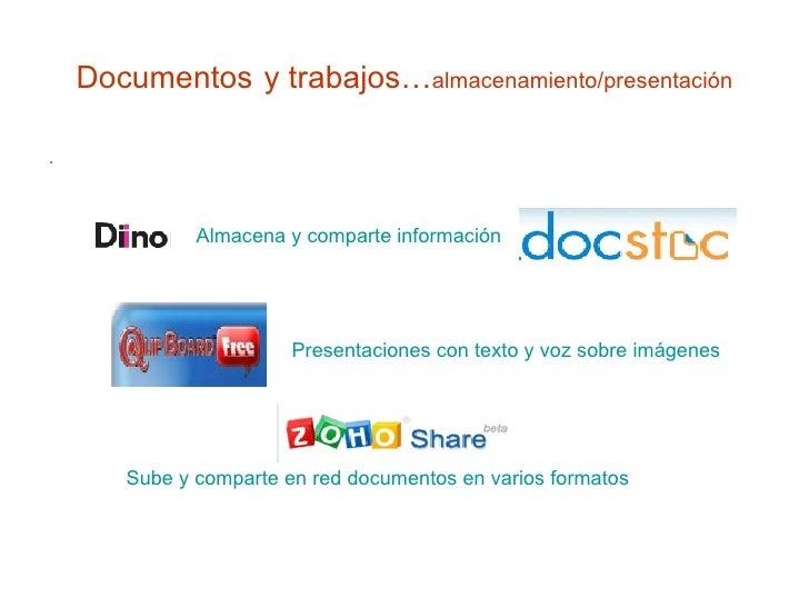 Documentos   y trabajos… almacenamiento/presentación <ul><li>. </li></ul>Almacena y comparte información Presentaciones co...