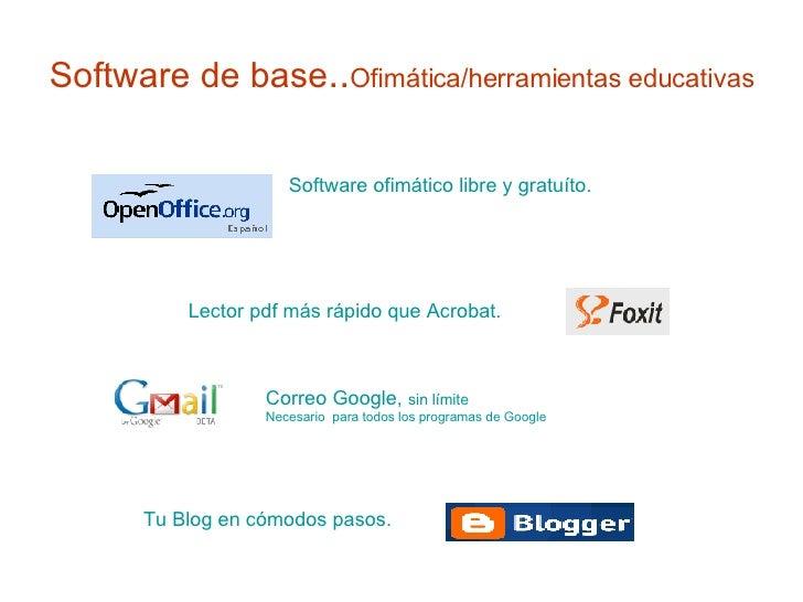 Software de base .. Ofimática/herramientas educativas  Software ofimático libre y gratuíto. Tu Blog en cómodos pasos.  Lec...