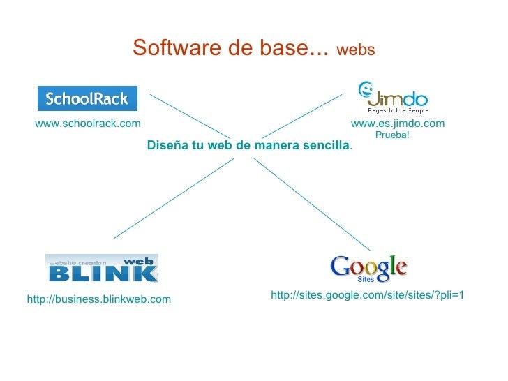 Software de base ...  webs Diseña tu web de manera sencilla .   www.es.jimdo.com Prueba! www.schoolrack.com http://busines...