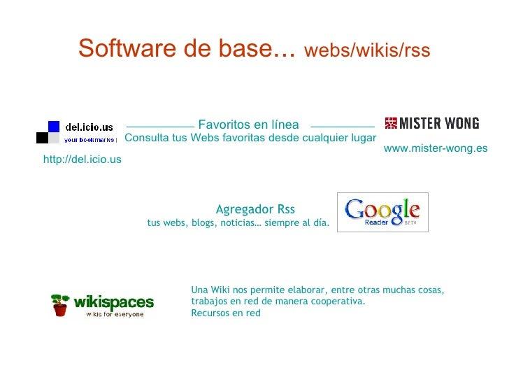 Software de base ...  webs/wikis/rss http://del.icio.us Favoritos en línea   Consulta tus Webs favoritas desde cualquier l...