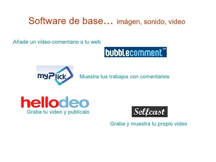 Software de base ...  imágen, sonido, video   <ul><li>Añade un video-comentario a tu web </li></ul>Graba tu video y publíc...