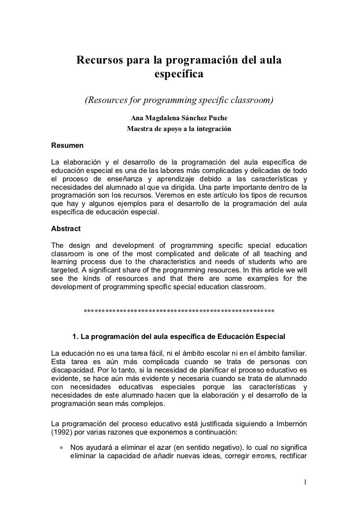 Recursos para la programación del aula                      específica           (Resources for programming specific class...