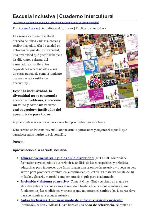 http://www.cuadernointercultural.com/orientacion/recursos-escuela-inclusiva/ Escuela Inclusiva   Cuaderno Intercultural Po...