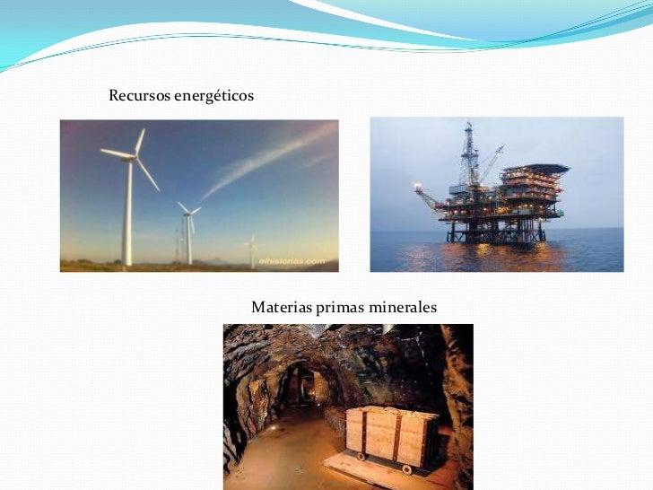 Recursos energéticos                   Materias primas minerales