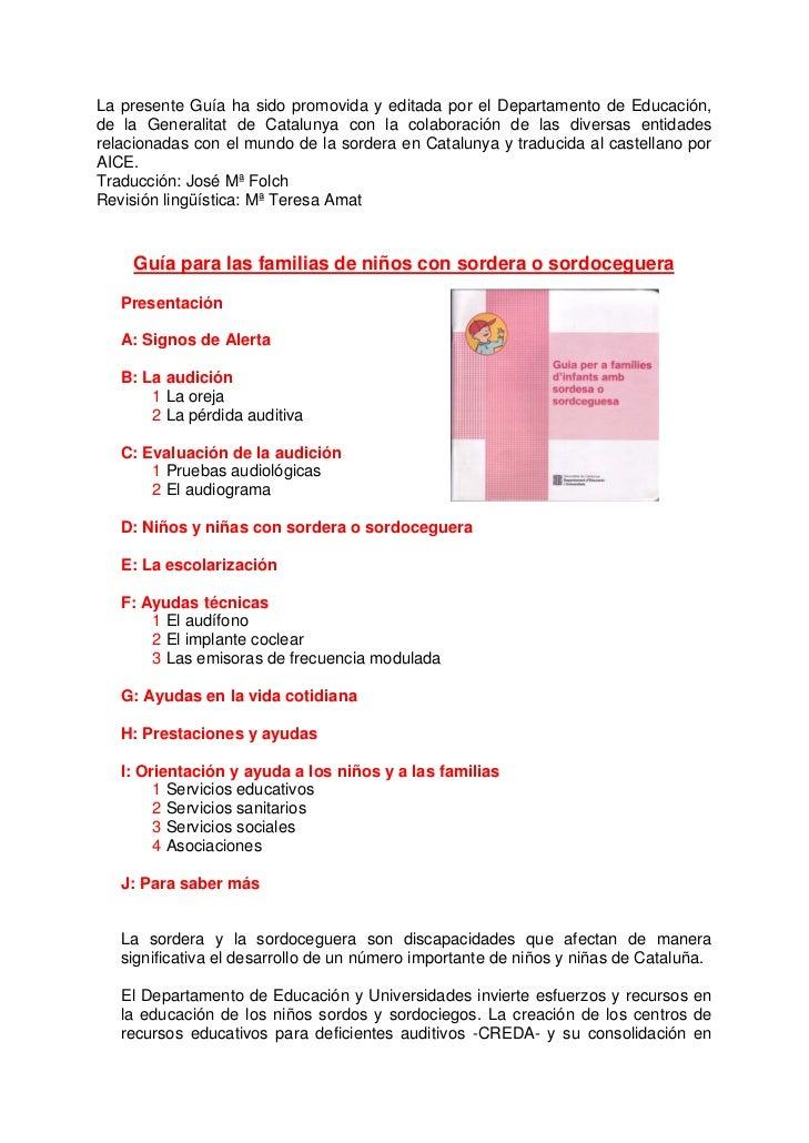 La presente Guía ha sido promovida y editada por el Departamento de Educación,de la Generalitat de Catalunya con la colabo...