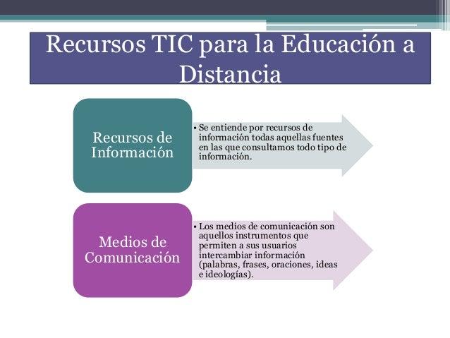 Recursos TIC para la Educación a Distancia • Se entiende por recursos de información todas aquellas fuentes en las que con...