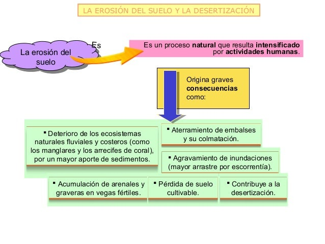 LA EROSIÓN DEL SUELO Y LA DESERTIZACIÓN                     Es               Es un proceso natural que resulta intensifica...