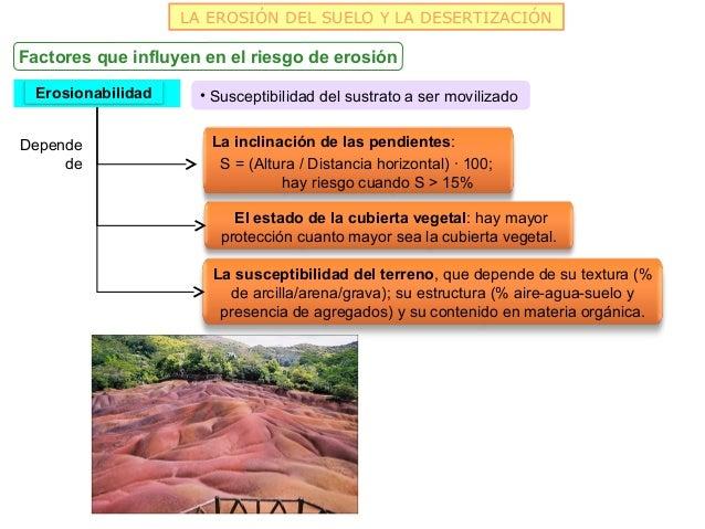 LA EROSIÓN DEL SUELO Y LA DESERTIZACIÓNFactores que influyen en el riesgo de erosión  Erosionabilidad     • Susceptibilida...