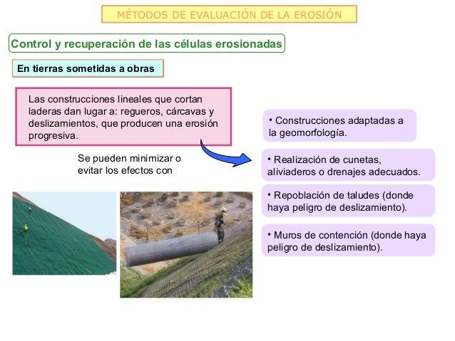 MÉTODOS DE EVALUACIÓN DE LA EROSIÓNControl y recuperación de las células erosionadas En tierras sometidas a obras   Las co...