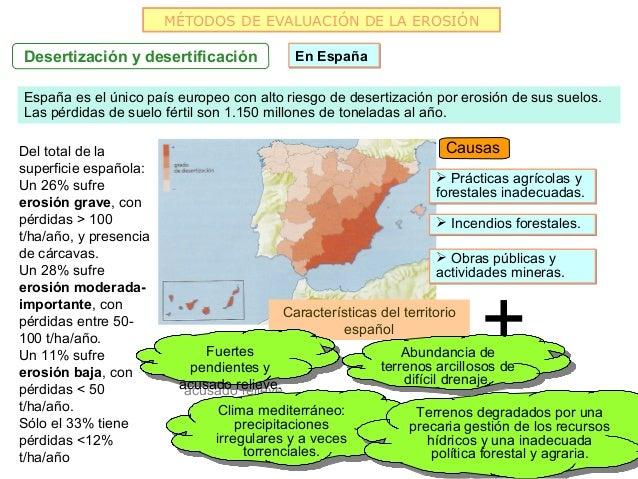 MÉTODOS DE EVALUACIÓN DE LA EROSIÓNDesertización y desertificación              En EspañaEspaña es el único país europeo c...