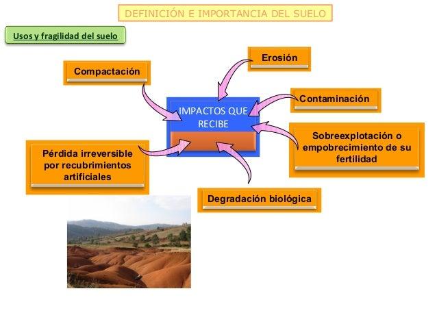 DEFINICIÓN E IMPORTANCIA DEL SUELOUsos y fragilidad del suelo                                                      Erosión...