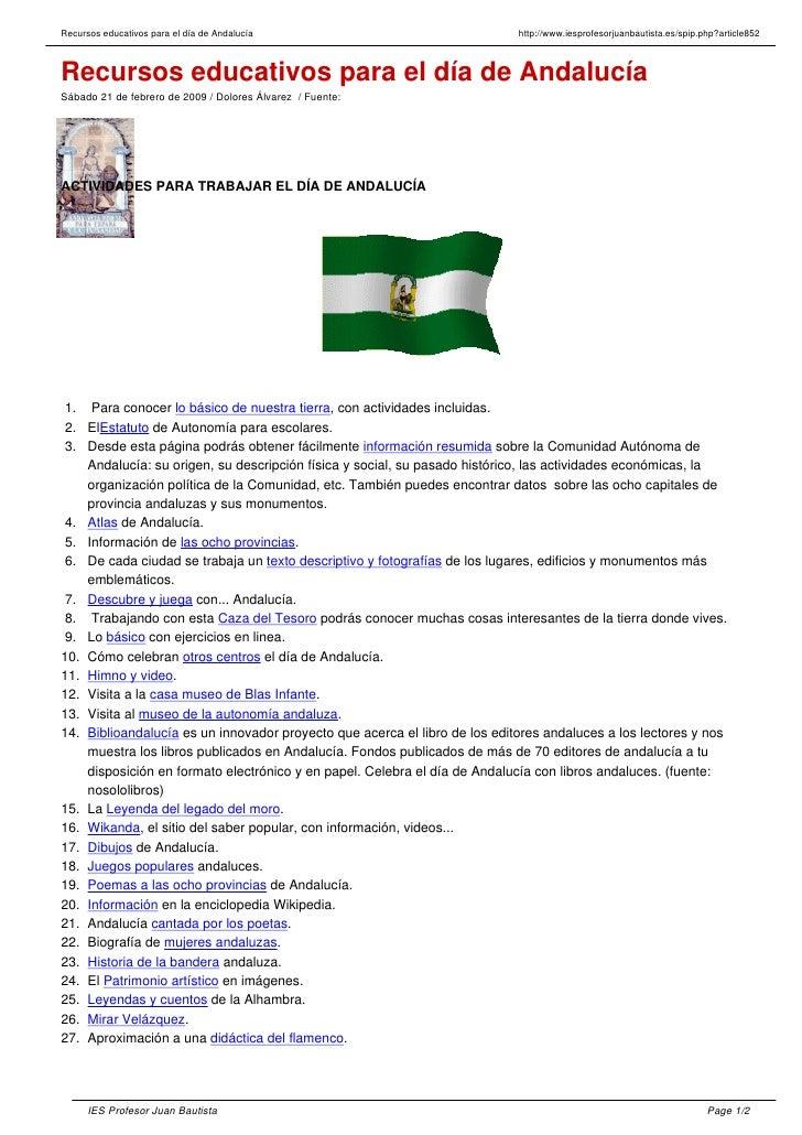 Recursos educativos para el día de Andalucía                                http://www.iesprofesorjuanbautista.es/spip.php...