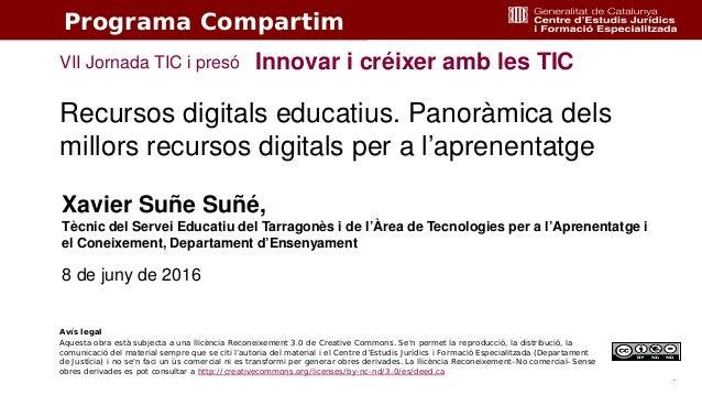 1 Recursos digitals educatius. Panoràmica dels millors recursos digitals per a l'aprenentatge Innovar i créixer amb les TI...