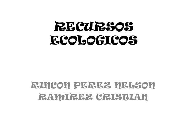 RECURSOS  ECOLOGICOSRINCON PEREZ NELSON RAMIREZ CRISTIAN