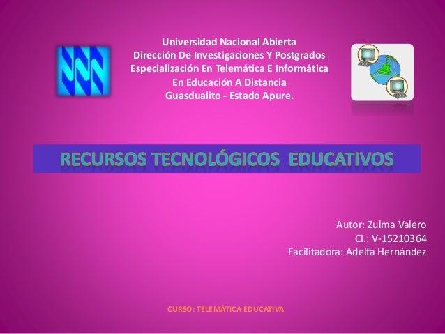 Universidad Nacional Abierta Dirección De Investigaciones Y Postgrados Especialización En Telemática E Informática En Educ...