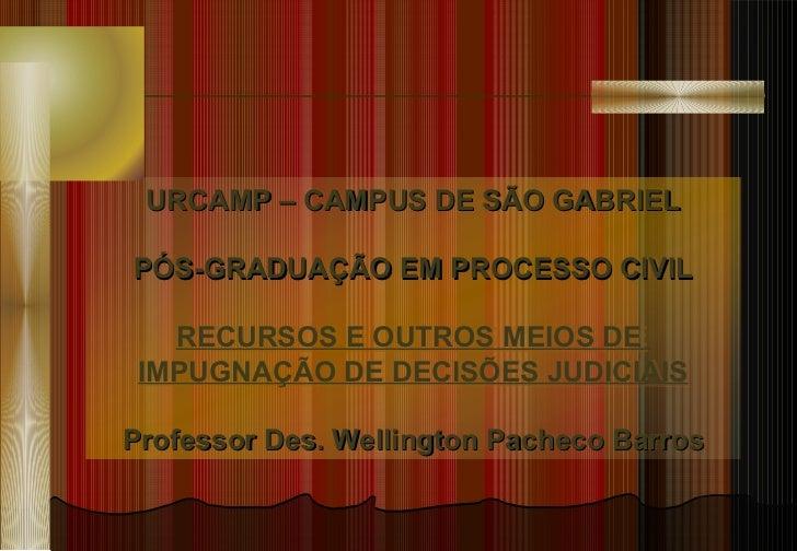 URCAMP – CAMPUS DE SÃO GABRIEL PÓS-GRADUAÇÃO EM PROCESSO CIVIL RECURSOS E OUTROS MEIOS DE  IMPUGNAÇÃO DE DECISÕES JUDICIAI...