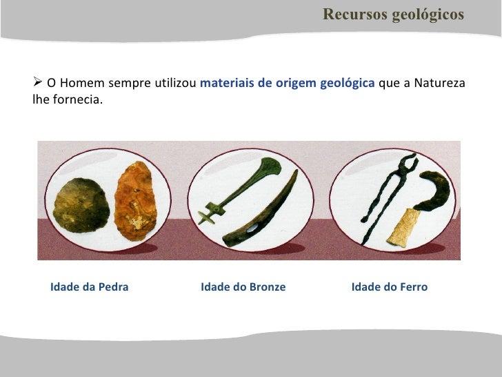 <ul><li>O Homem sempre utilizou  materiais de origem geológica  que a Natureza lhe fornecia.  </li></ul>Recursos geológico...