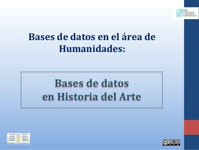 Bases de datos en el área de Humanidades: Bases de datos en Historia del Arte