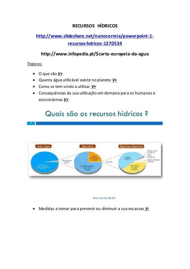 RECURSOS HÍDRICOS http://www.slideshare.net/nunocorreia/powerpoint-1- recursos-hdricos-1270534 http://www.infopedia.pt/$ca...