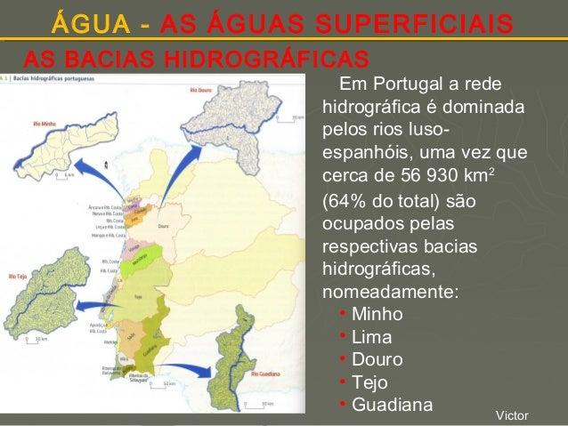 ÁGUA - AS ÁGUAS SUPERFICIAIS AS BACIAS HIDROGRÁFICAS  Em Portugal a rede hidrográfica é dominada pelos rios lusoespanhóis,...