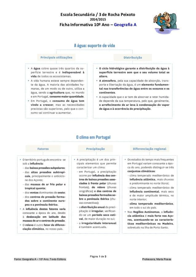Escola Secundária / 3 de Rocha Peixoto 2014/2015 Ficha Informativa 10º Ano – Geografia A Página 1 de 3 Fonte: Geografia A ...