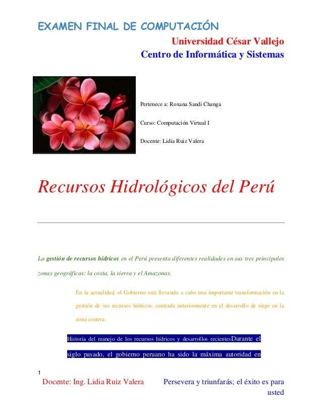EXAMEN FINAL DE COMPUTACIÓN Universidad César Vallejo Centro de Informática y Sistemas  Pertenece a: Roxana Sandi Changa C...