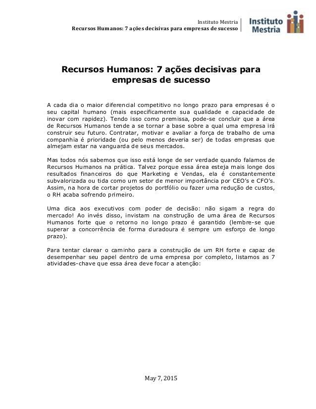 Instituto  Mestria   Recursos  Humanos:  7  ações  decisivas  para  empresas  de  sucesso        ...