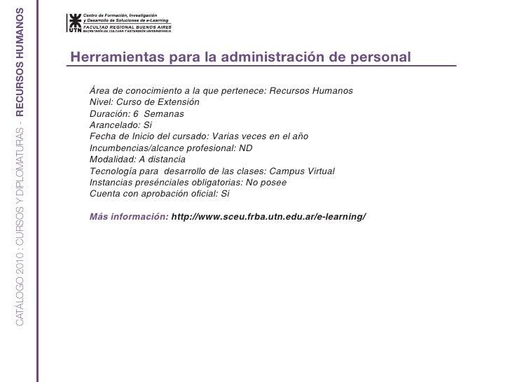 CATÁLOGO 2010 : CURSOS Y DIPLOMATURAS - RECURSOS HUMANOS                                                                  ...