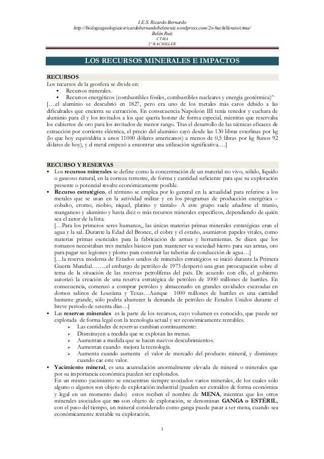 I.E:S. Ricardo Bernardo           http://biologiageologiaiesricardobernardobelenruiz.wordpress.com/2o-bachillerato/ctma/  ...