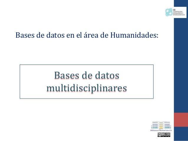 Bases de datos en el área de Humanidades: Bases de datos multidisciplinares