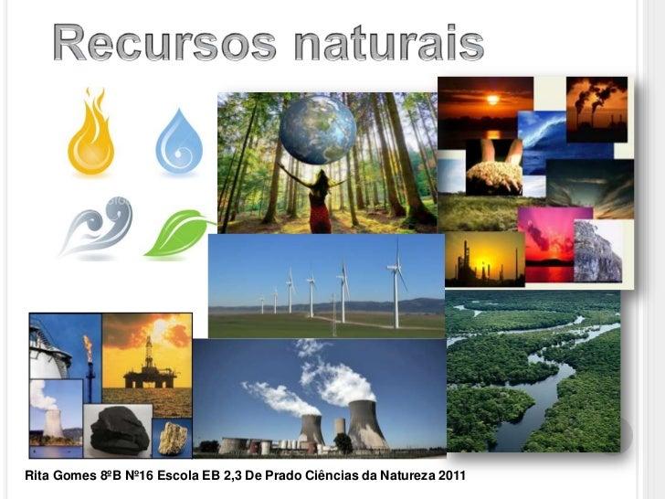 Recursos naturais <br />Rita Gomes 8ºB Nº16 Escola EB 2,3 De Prado Ciências da Natureza 2011<br />