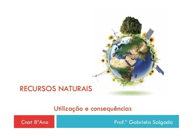 RECURSOS NATURAIS             Utilização e consequênciasCnat 8ºAno                       Prof.ª Gabriela Salgado