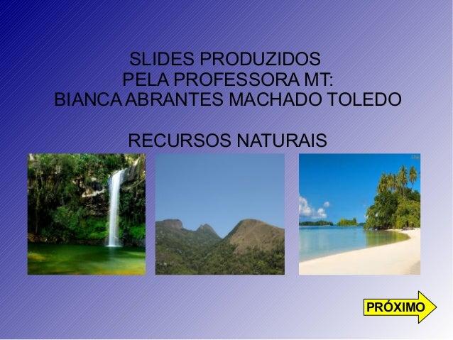 SLIDES PRODUZIDOS  PELA PROFESSORA MT:  BIANCA ABRANTES MACHADO TOLEDO  RECURSOS NATURAIS  PRÓXIMO