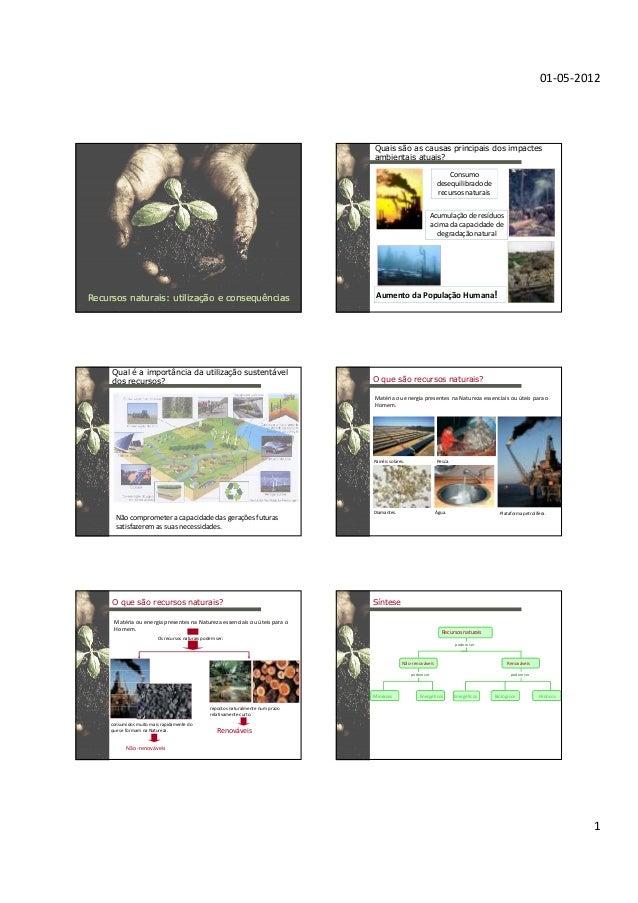 01-05-2012 1 RecursosRecursos naturais: utilizaçnaturais: utilização e consequênciasão e consequências Consumo desequilibr...