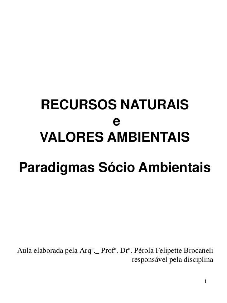 RECURSOS NATURAIS                e       VALORES AMBIENTAISParadigmas Sócio AmbientaisAula elaborada pela Arqa._ Profa. Dr...