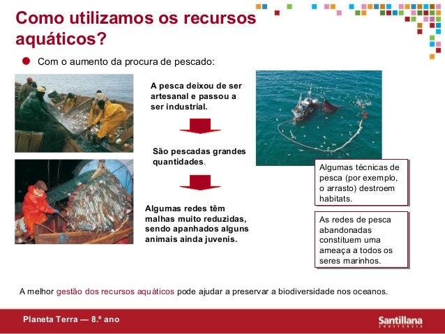 Como utilizamos os recursosaquáticos?Com o aumento da procura de pescado:A pesca deixou de serartesanal e passou aser indu...