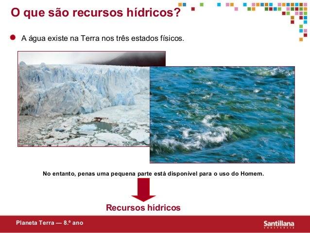 O que são recursos hídricos?A água existe na Terra nos três estados físicos.No entanto, penas uma pequena parte está dispo...