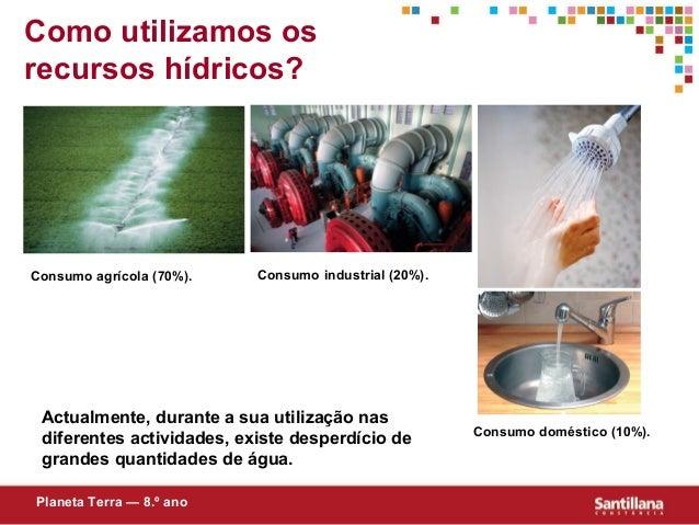 Como utilizamos osrecursos hídricos?Actualmente, durante a sua utilização nasdiferentes actividades, existe desperdício de...