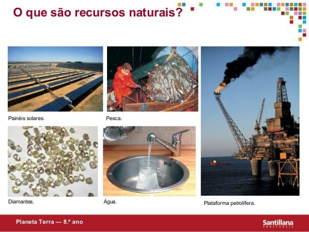 O que são recursos naturais?Planeta Terra — 8.º anoPainéis solares.Água.Pesca.Diamantes. Plataforma petrolífera.