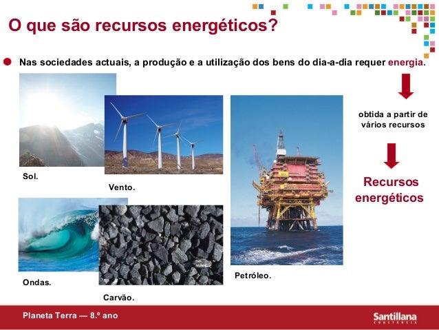 obtida a partir devários recursosRecursosenergéticosPlaneta Terra — 8.º anoO que são recursos energéticos?Nas sociedades a...