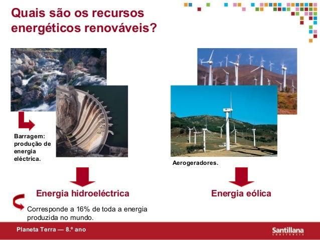 Quais são os recursosenergéticos renováveis?Corresponde a 16% de toda a energiaproduzida no mundo.Energia eólicaPlaneta Te...