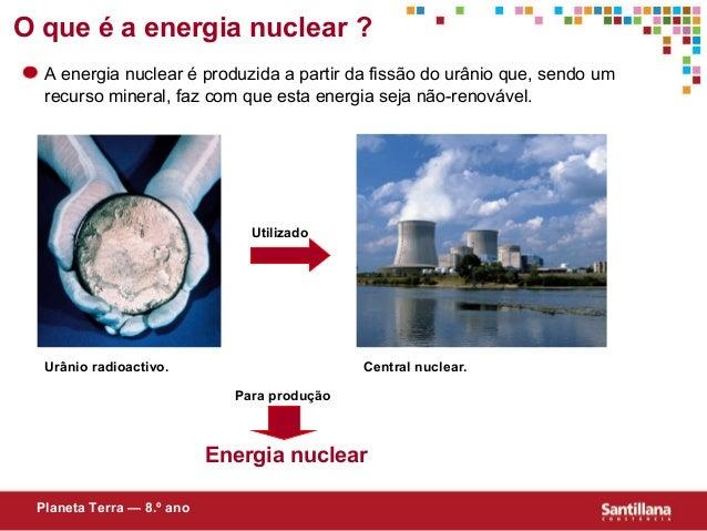 O que é a energia nuclear ?A energia nuclear é produzida a partir da fissão do urânio que, sendo umrecurso mineral, faz co...