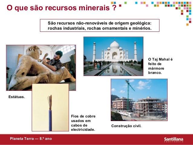 Estátuas.São recursos não-renováveis de origem geológica:rochas industriais, rochas ornamentais e minérios.O Taj Mahal éfe...